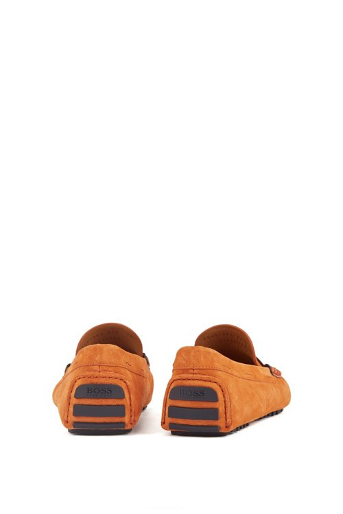 Hugo Boss - Italian-made moccasins in calf suede with penny trim - 6