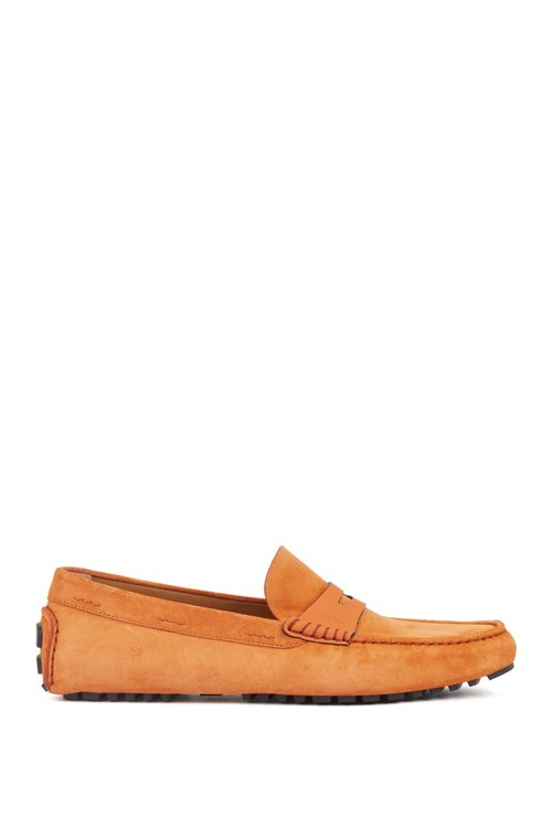 Hugo Boss - Italian-made moccasins in calf suede with penny trim - 1