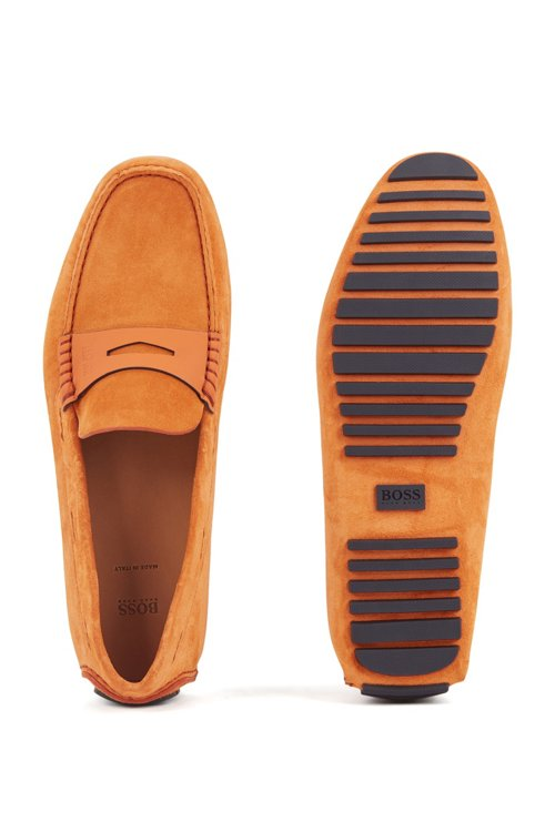 Hugo Boss - Italian-made moccasins in calf suede with penny trim - 5