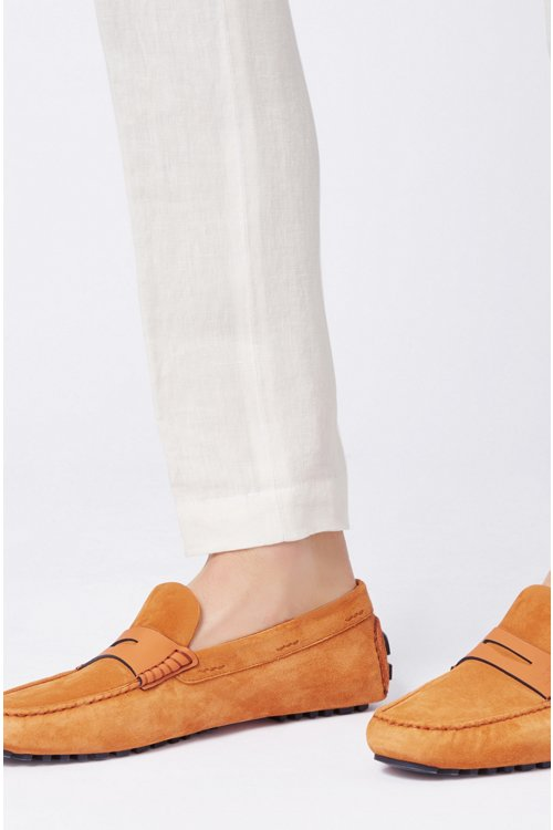 Hugo Boss - Italian-made moccasins in calf suede with penny trim - 4