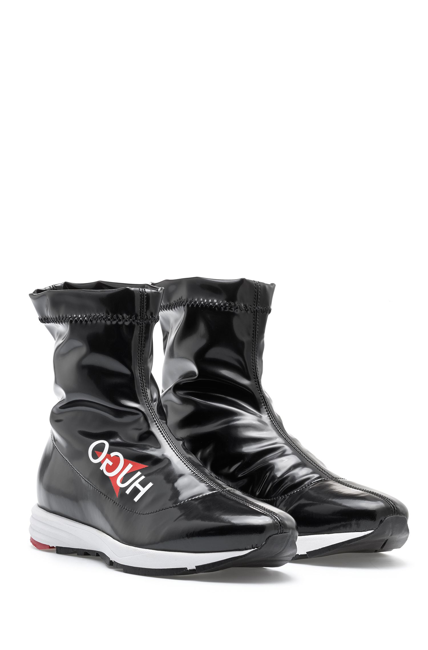 Italian-made sock boots in glossy technical stretch fabric, Black