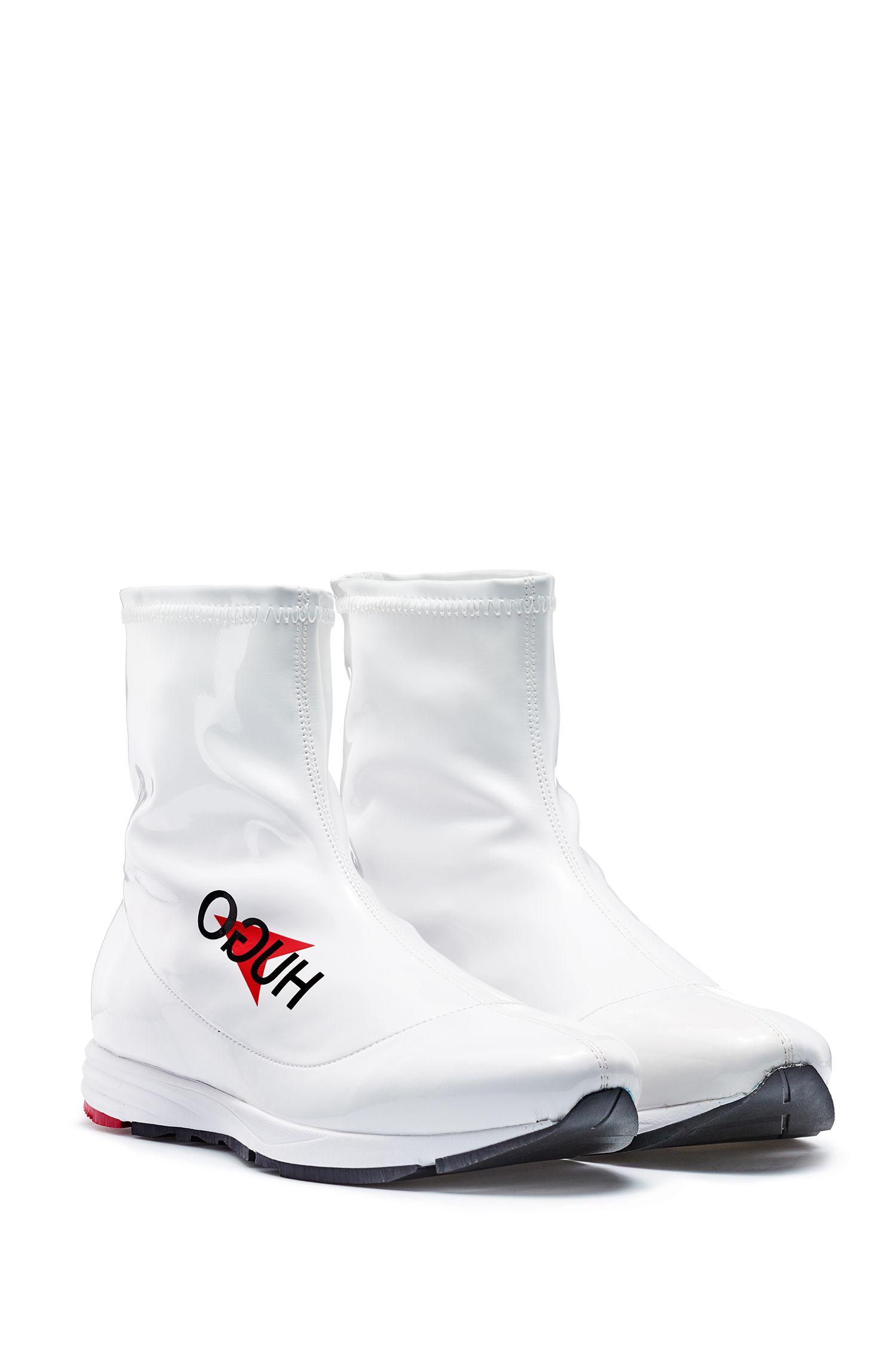 Italian-made sock boots in glossy technical stretch fabric, White
