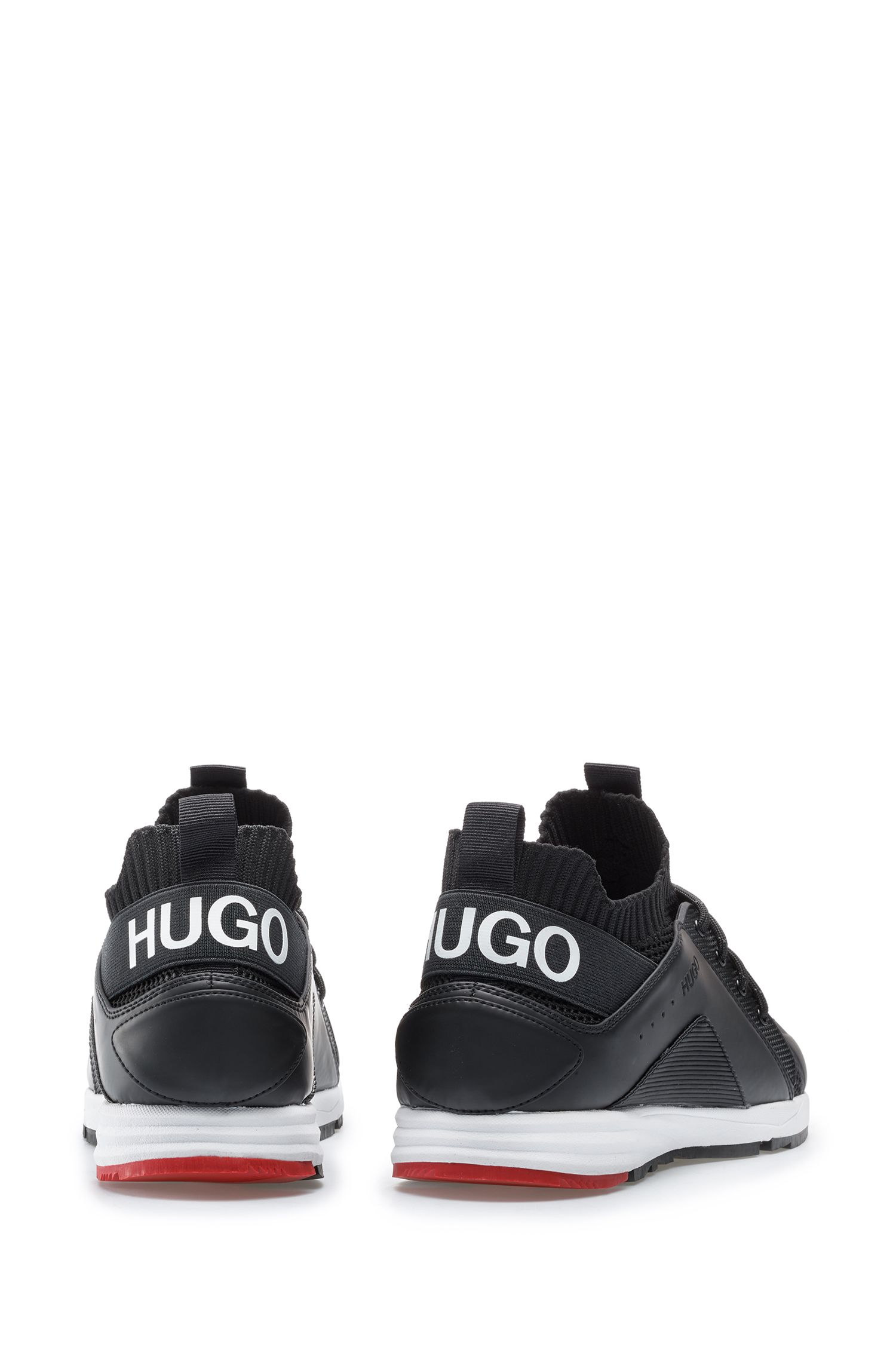 Running-inspired trainers with knitted sock and statement logo, Black