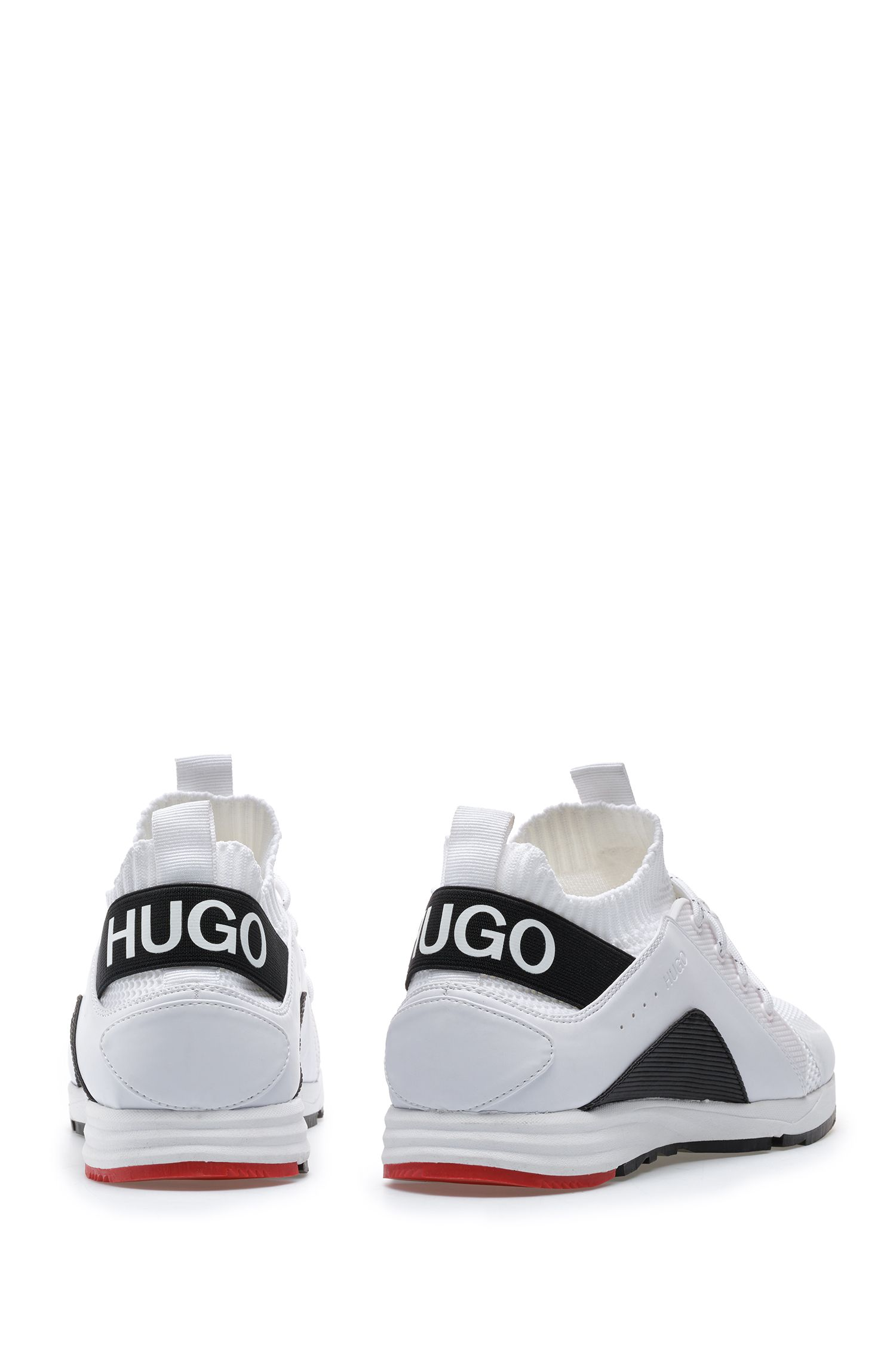 Running-inspired trainers with knitted sock and statement logo, White