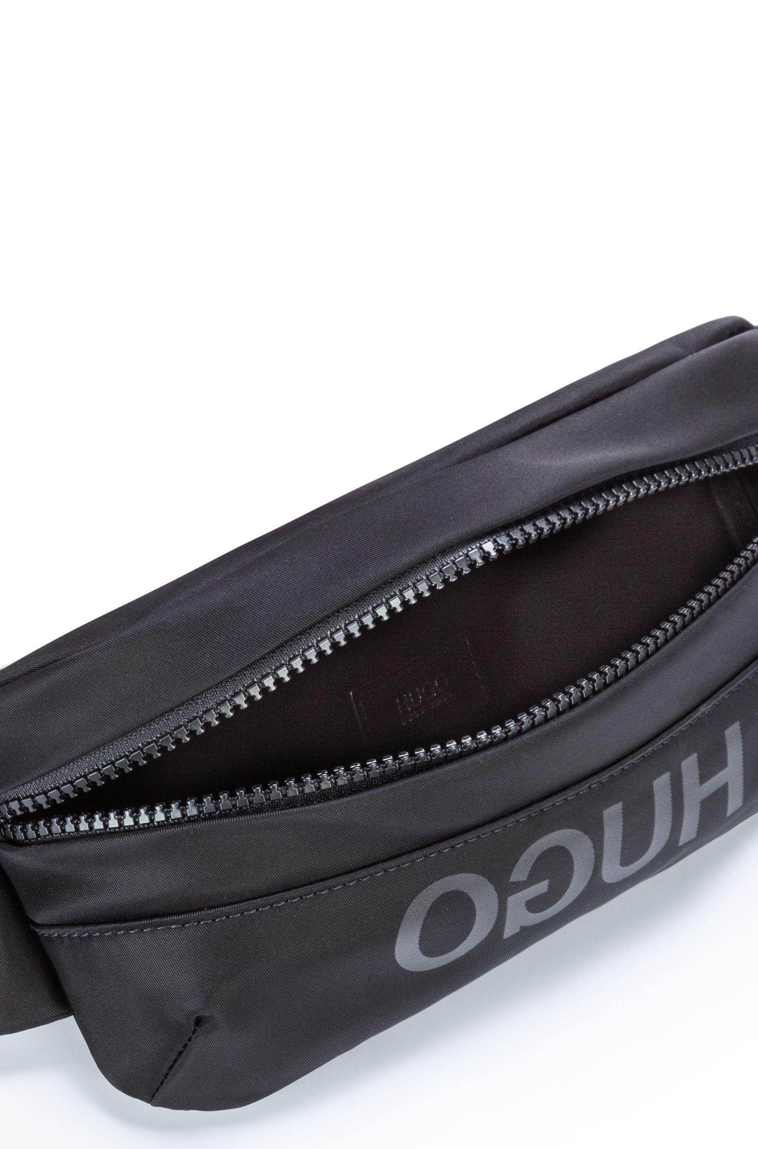 Sac ceinture mixte en gabardine technique avec finitions cuir, Noir