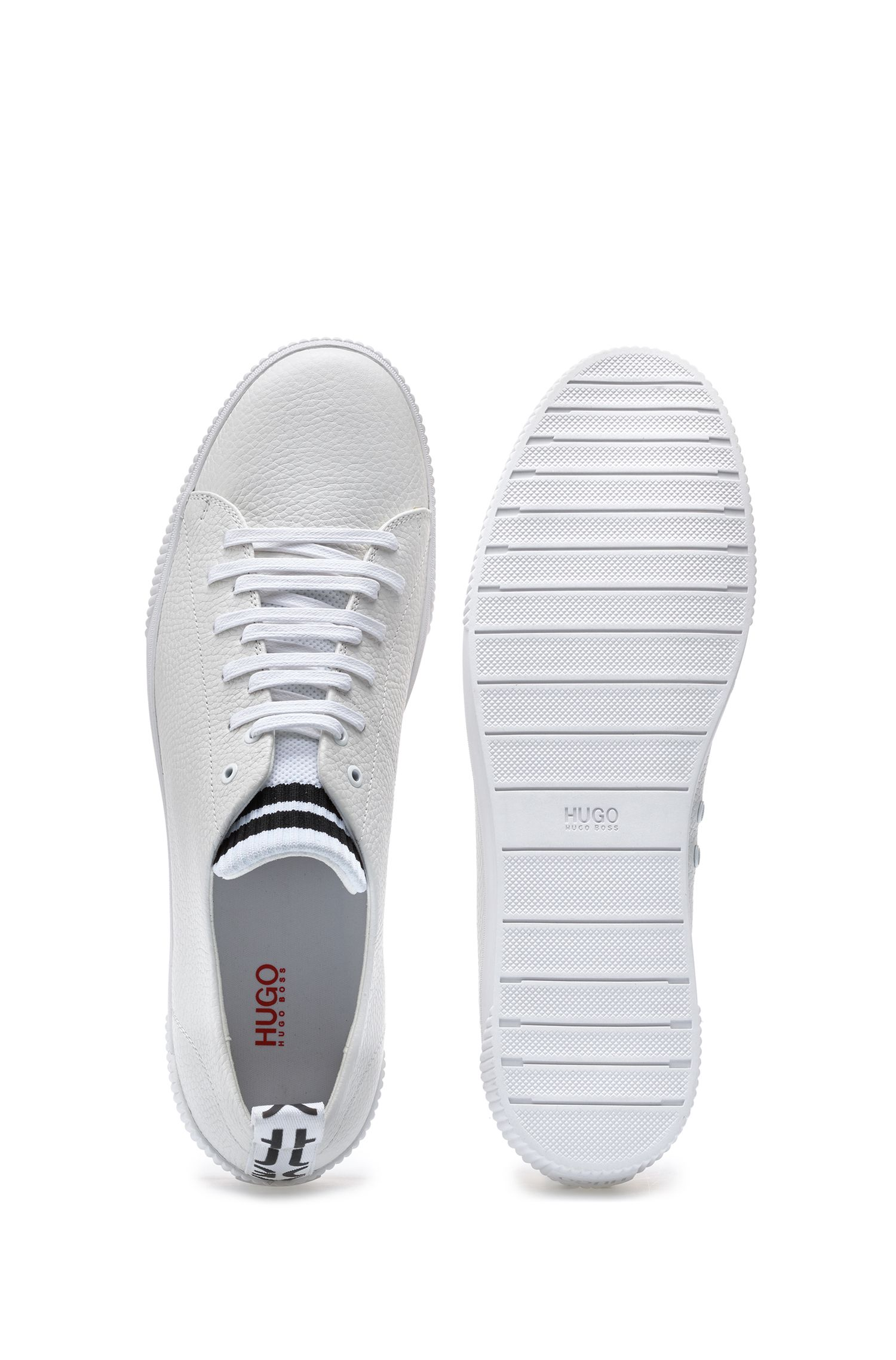 Low-profile trainers in grainy leather with striped tongue, White
