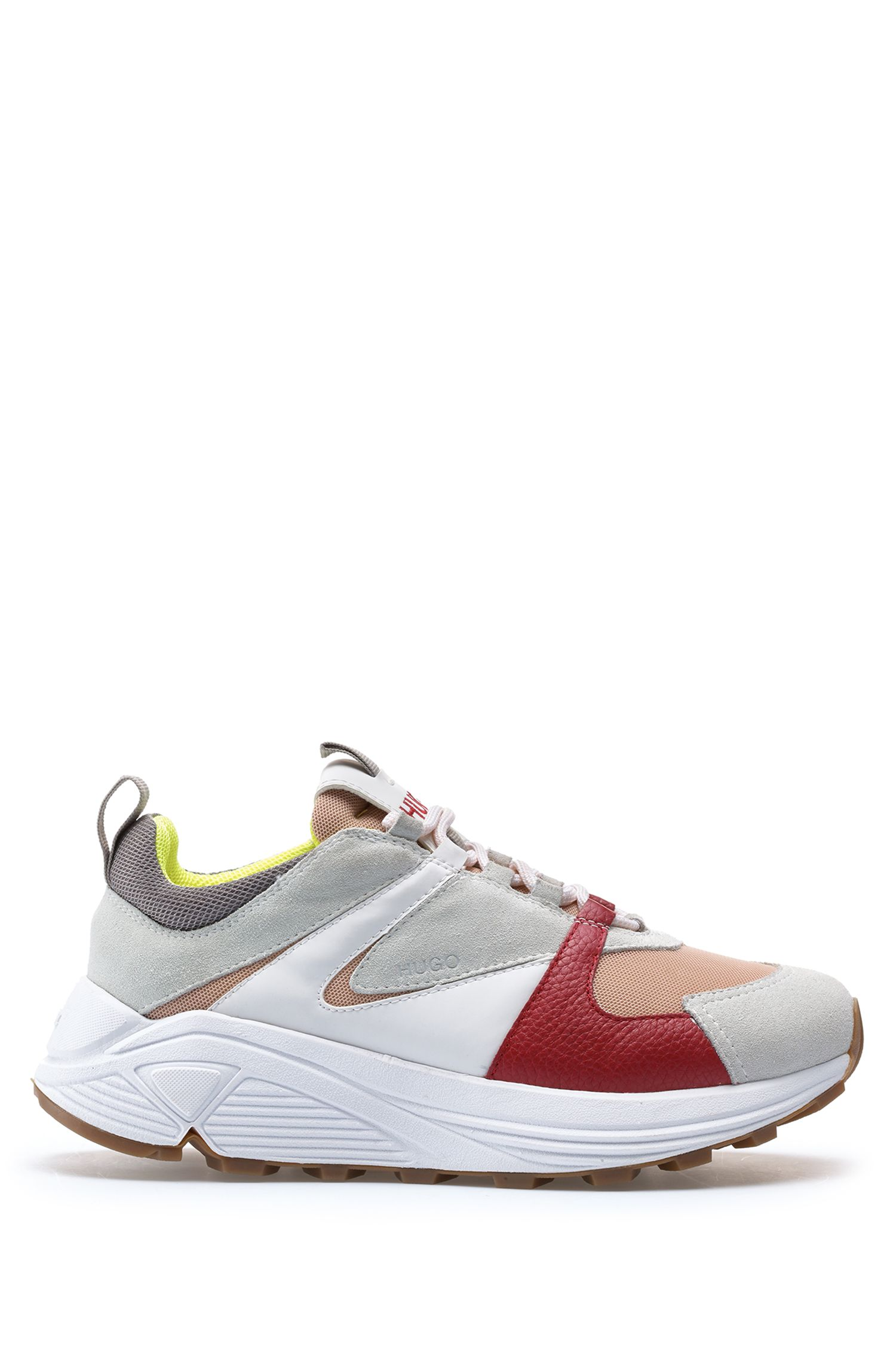 Lace-up trainers in suede, leather and mesh, Red