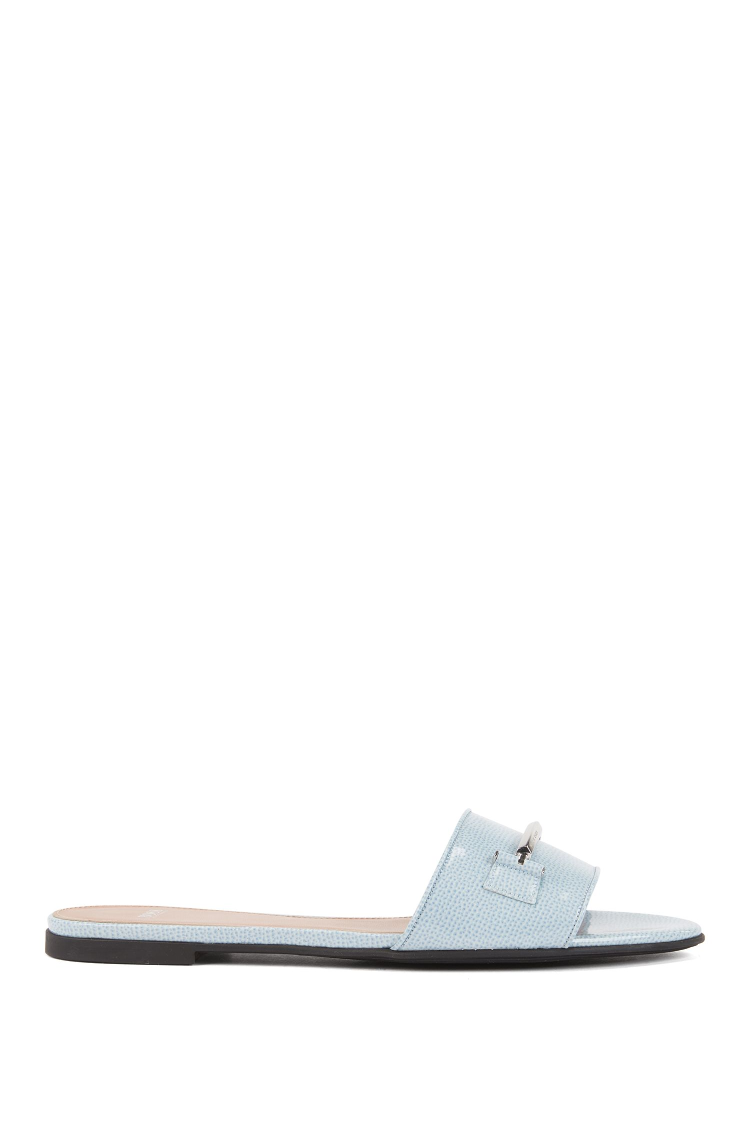 Slides in saffiano-printed Italian leather with signature hardware, Dark Blue
