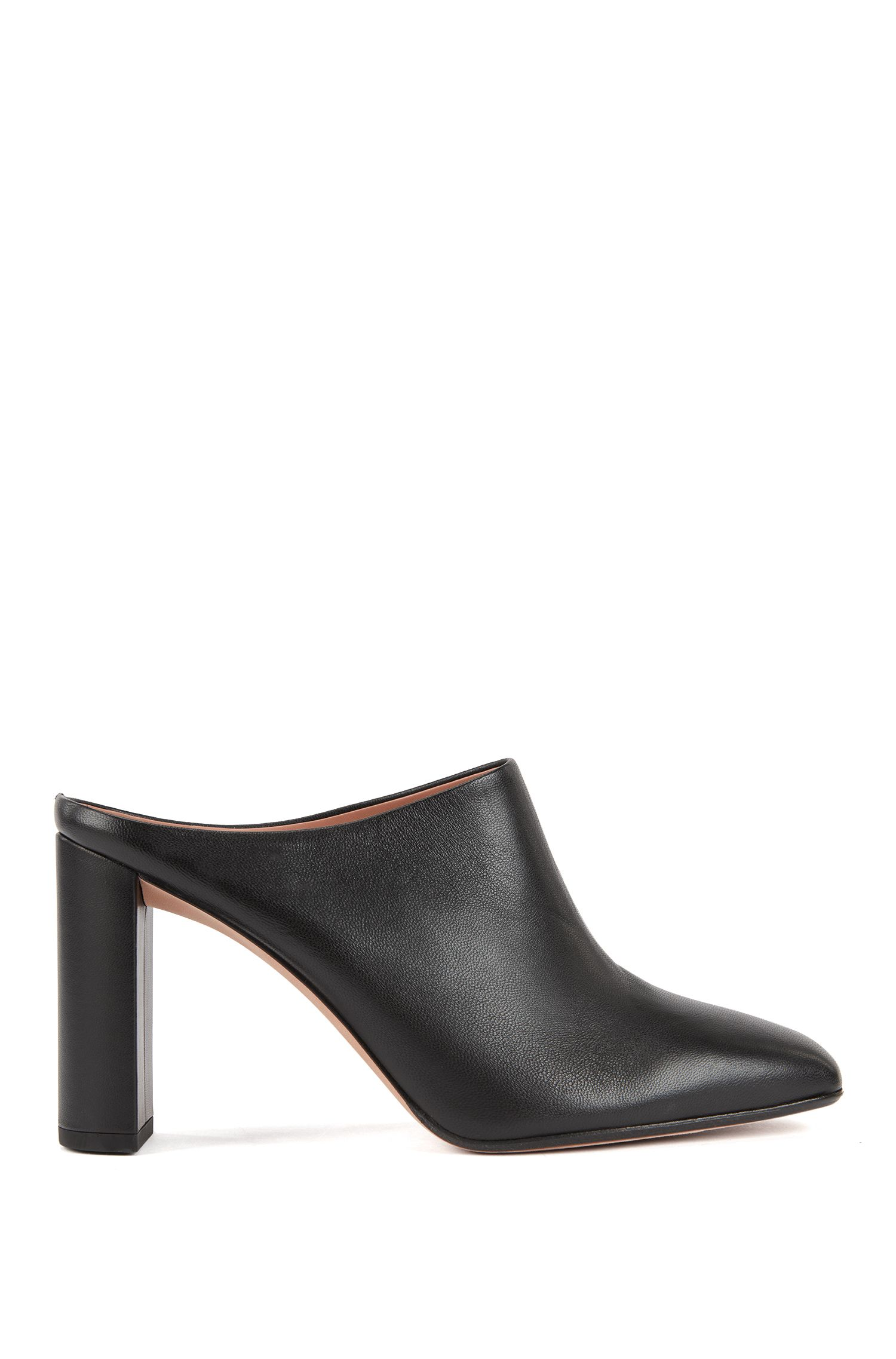Lambskin leather mules with block heel, Black