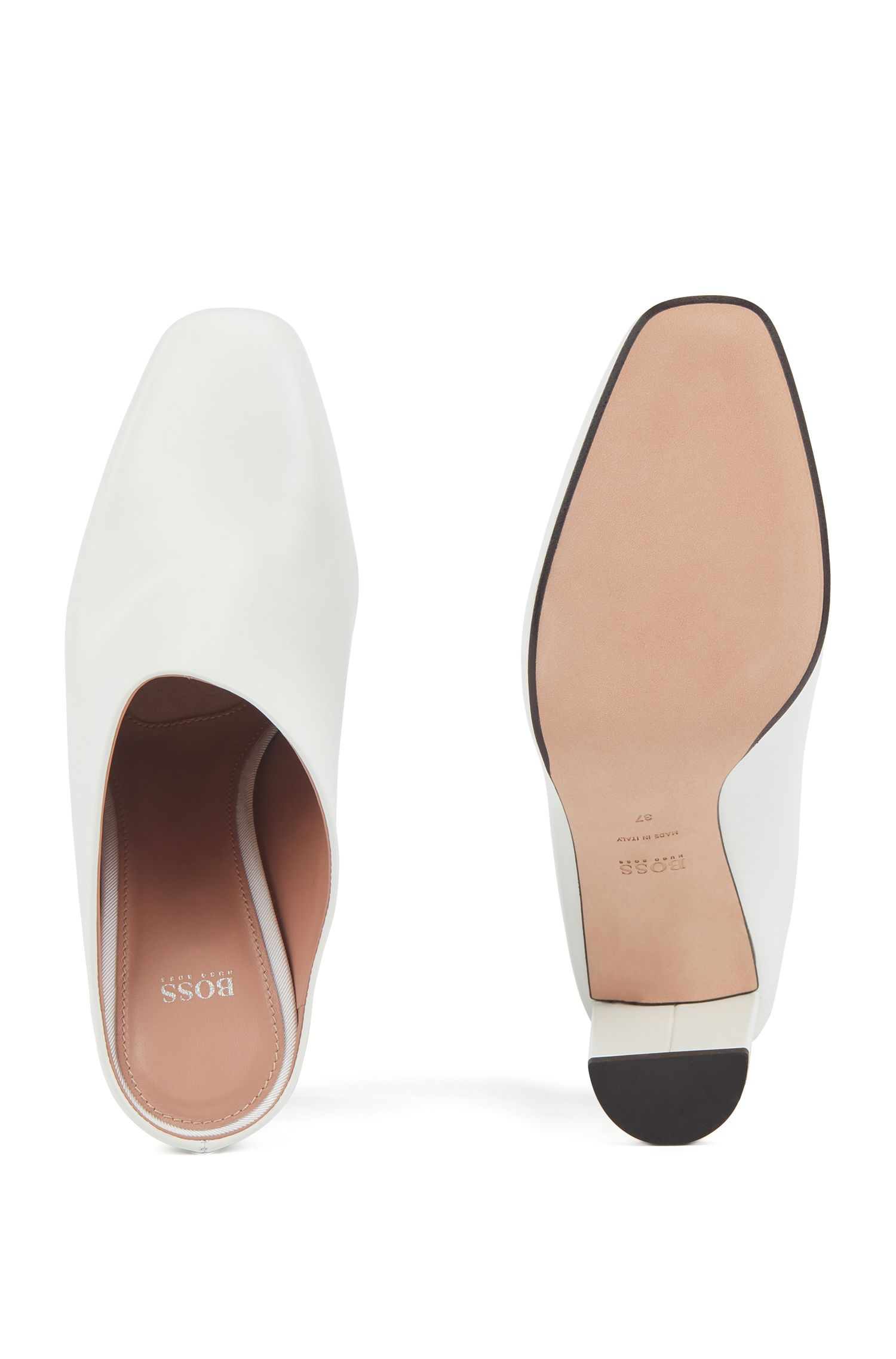 Lambskin leather mules with block heel, White