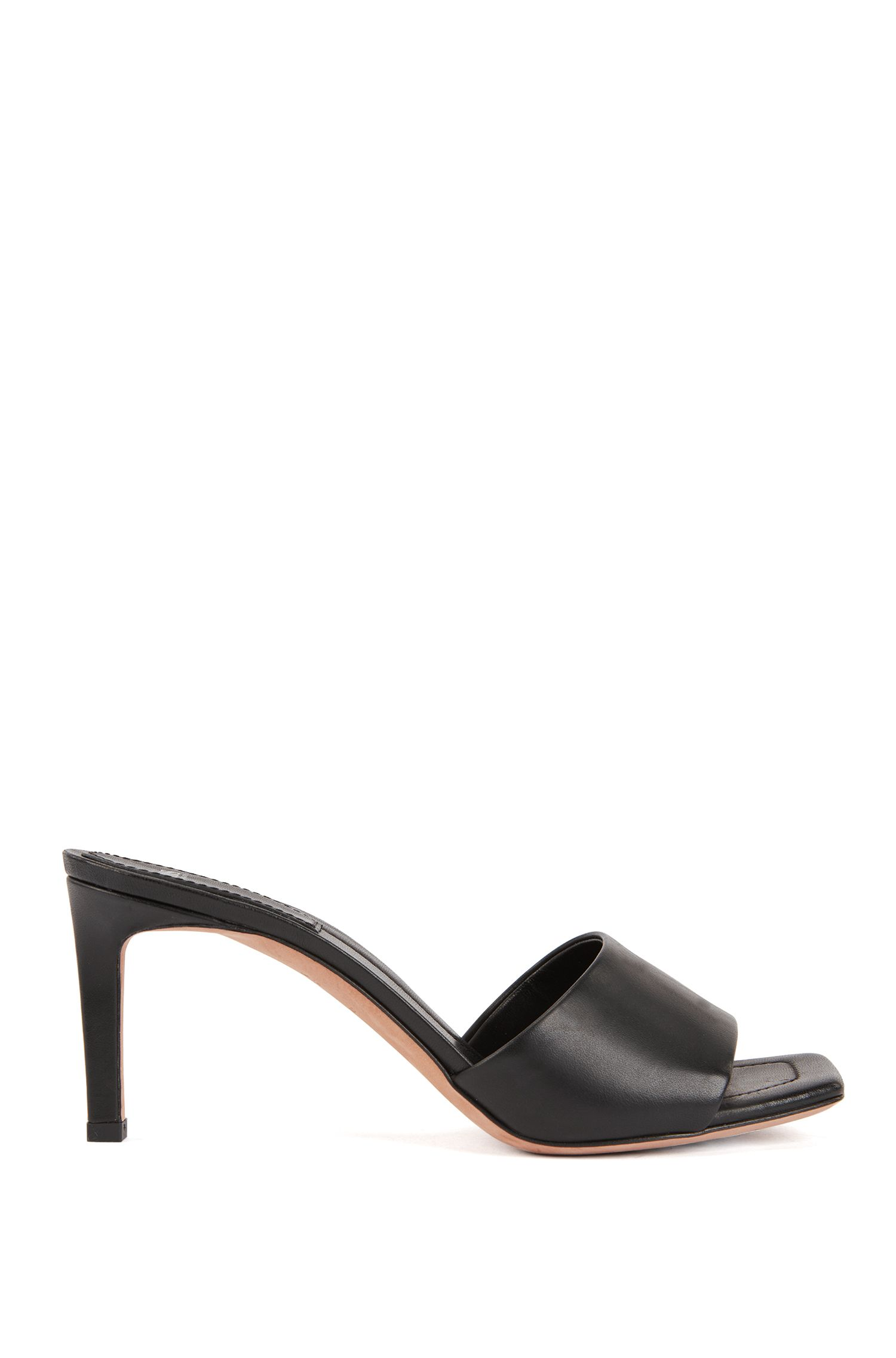 Open-toed mules in Italian calf leather, Black