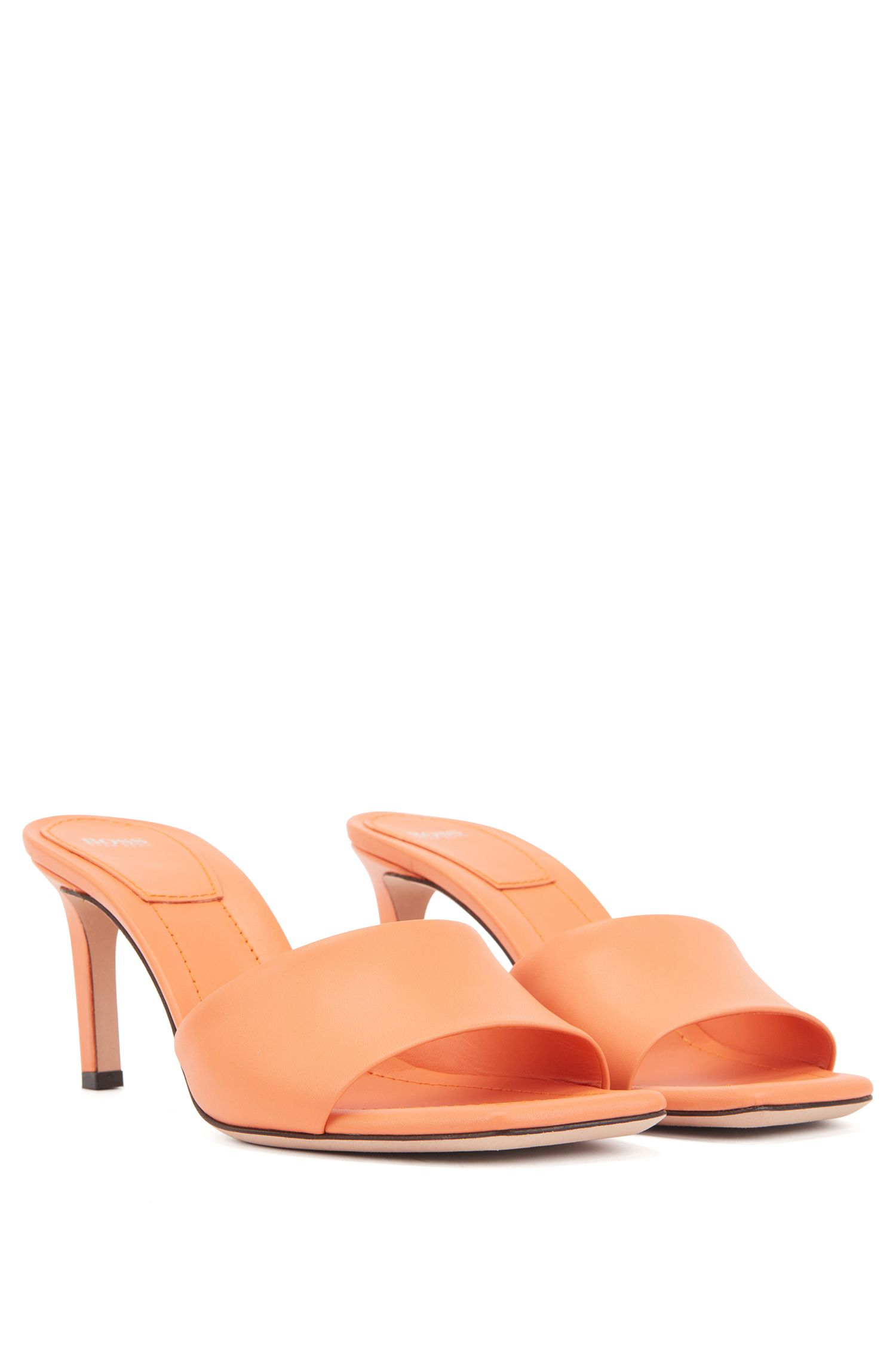 Open-toed mules in Italian calf leather, Orange