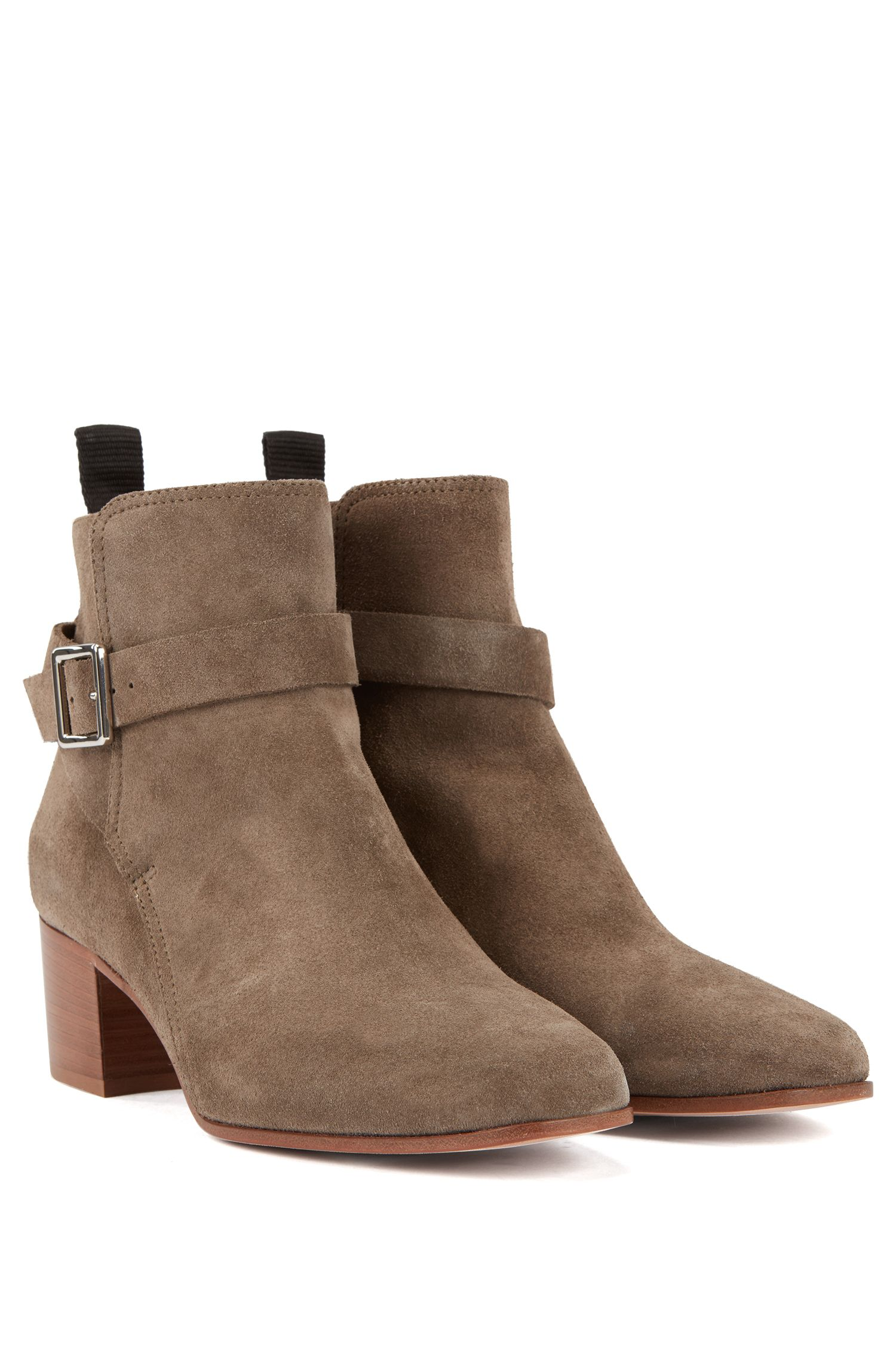 Ankle boots in Italian split leather with ankle strap, Grey