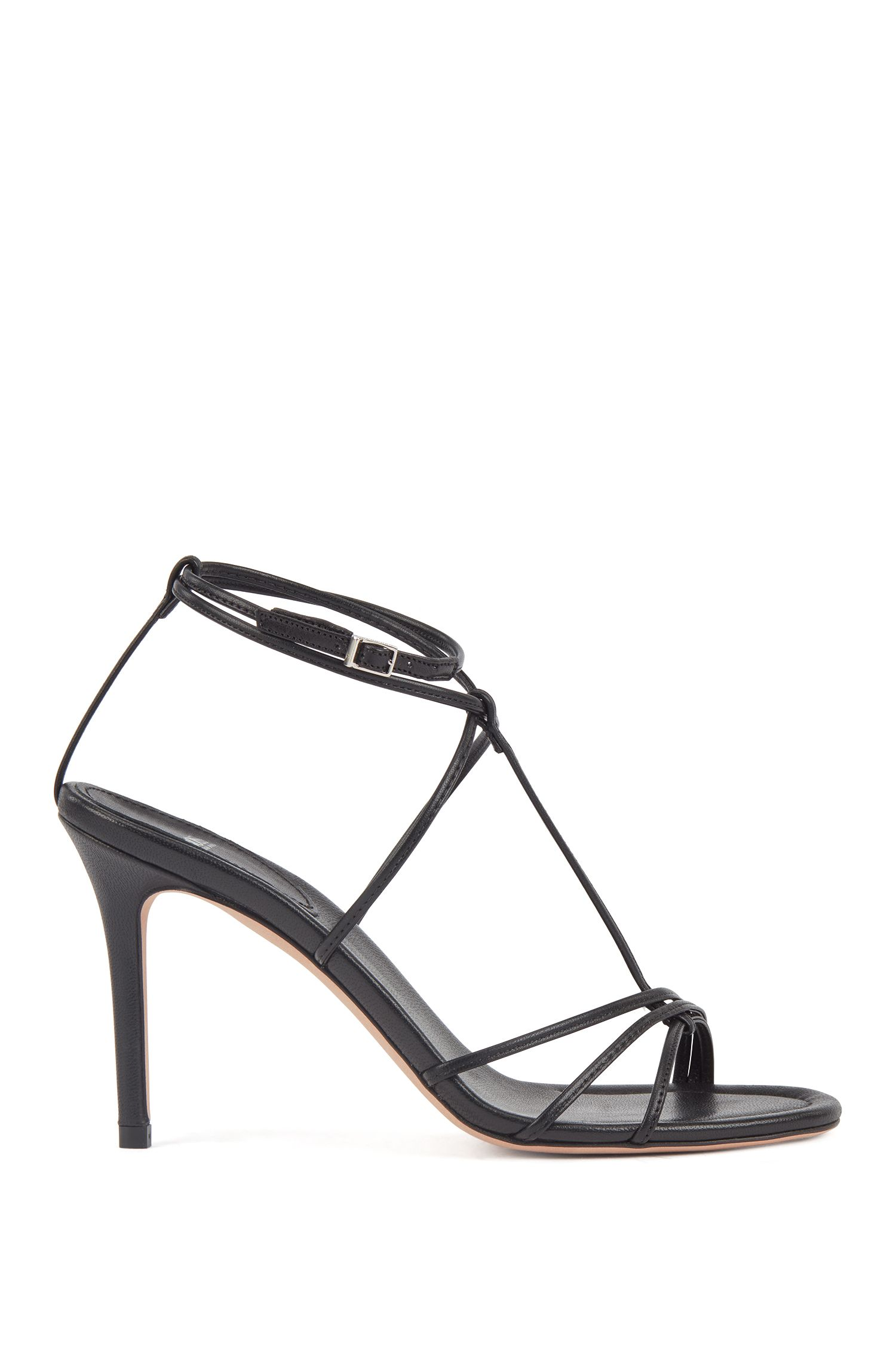 Strappy sandals in Italian lambskin with high heels, Black
