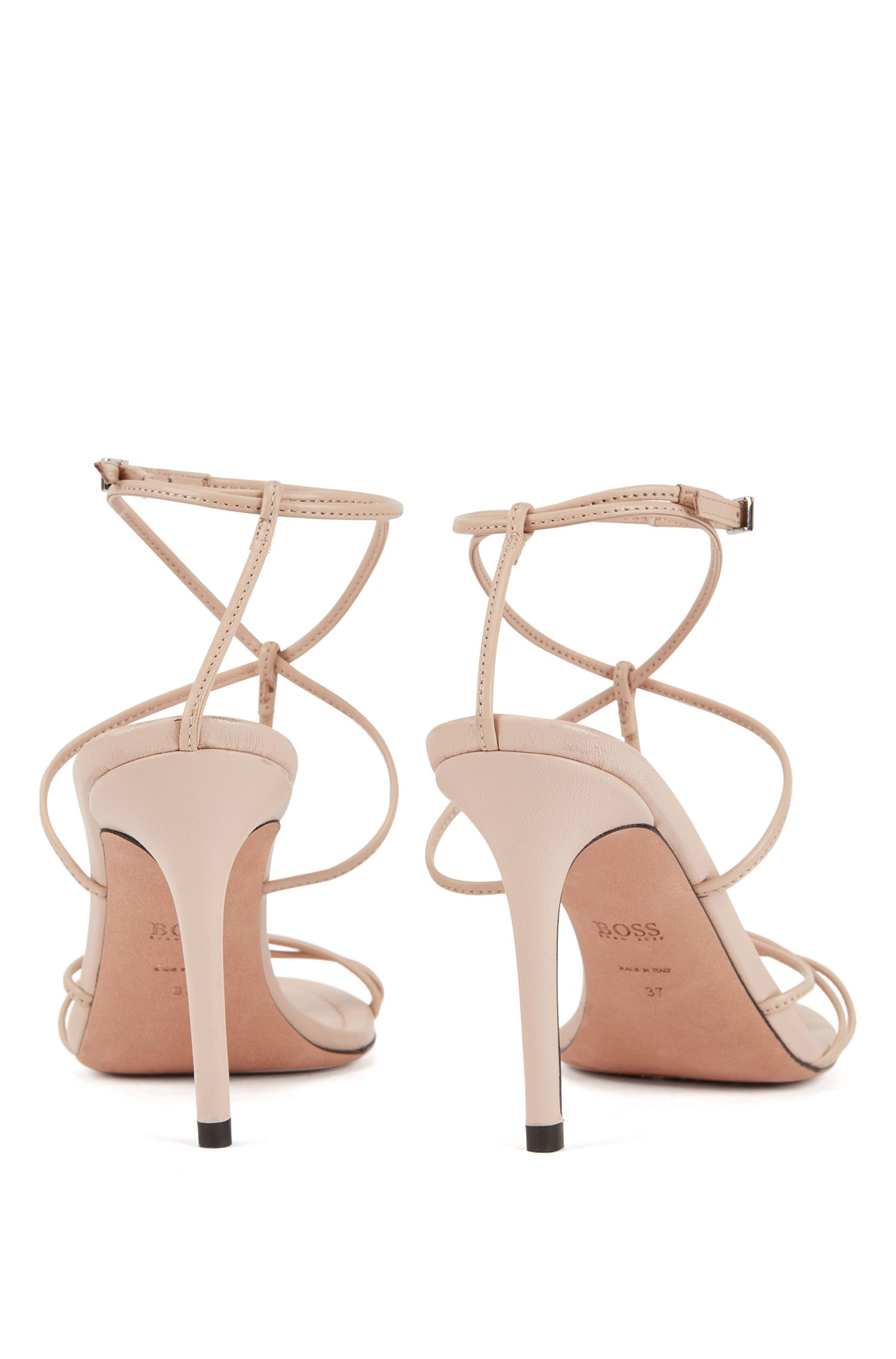 Strappy sandals in Italian lambskin with high heels, Light Beige