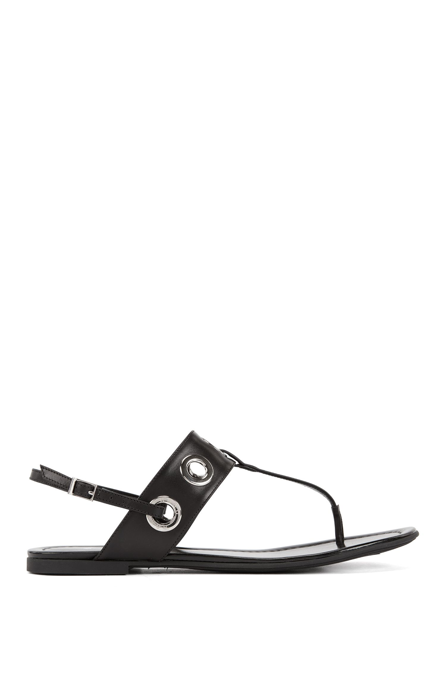 Leather T-bar sandals with removable ankle straps, Black