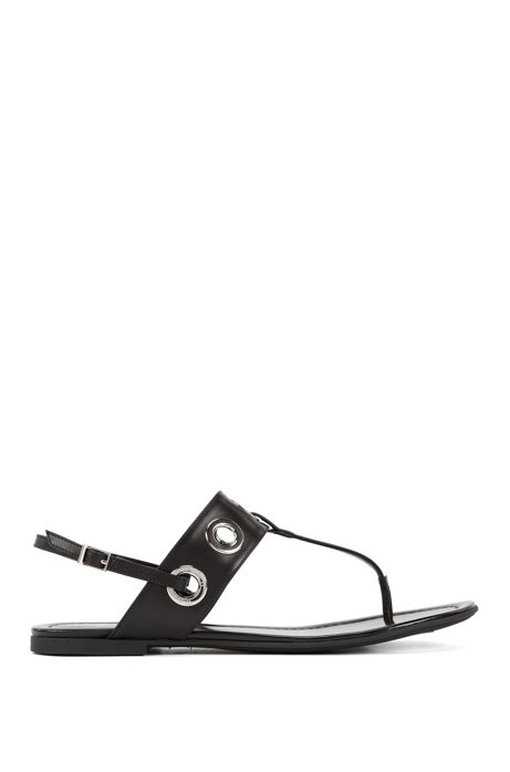 95588bf248 BOSS - Leather T-bar sandals with removable ankle straps