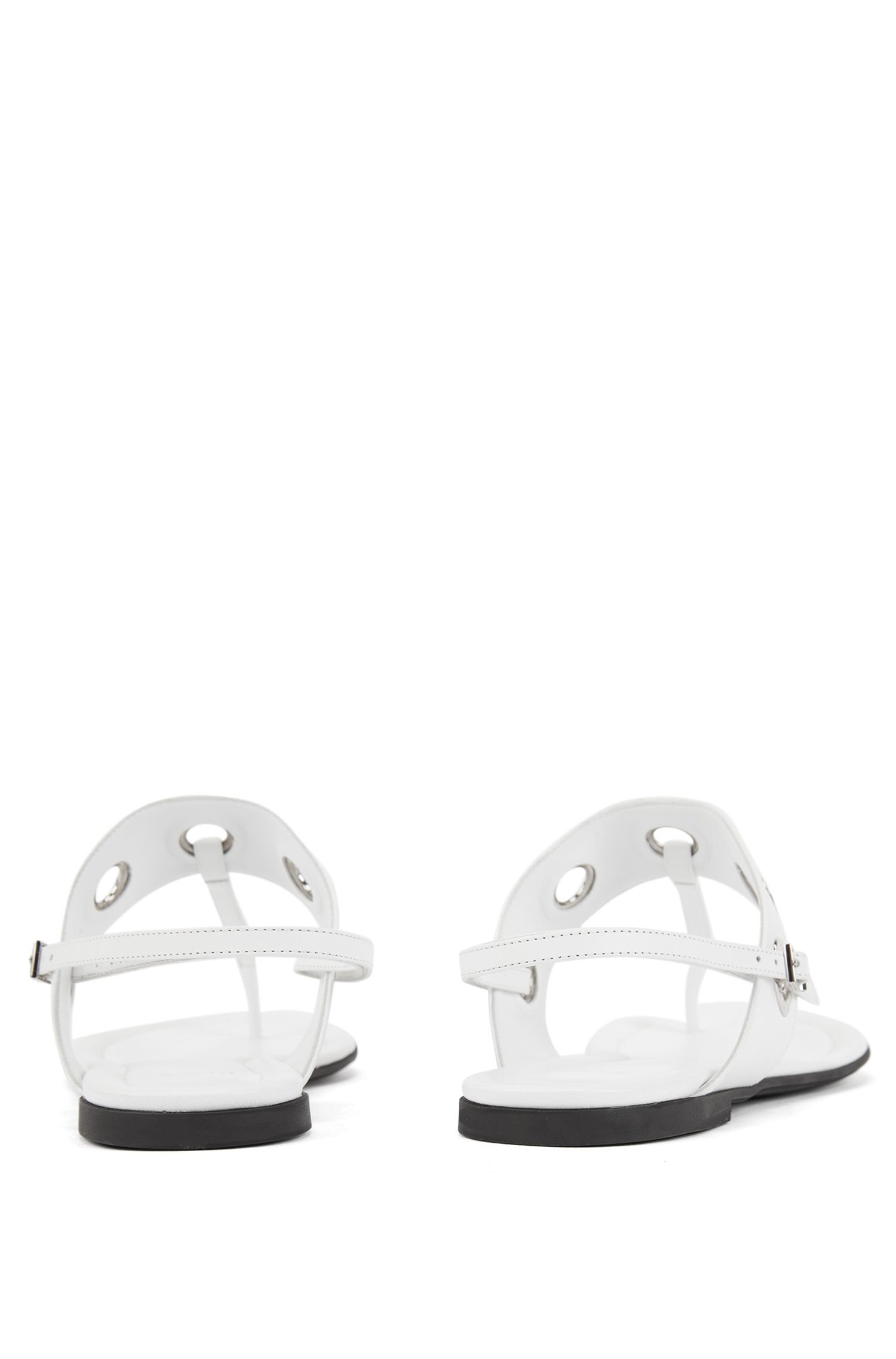 Ledersandalen mit T-Steg und abnehmbaren Fesselriemen, Weiß