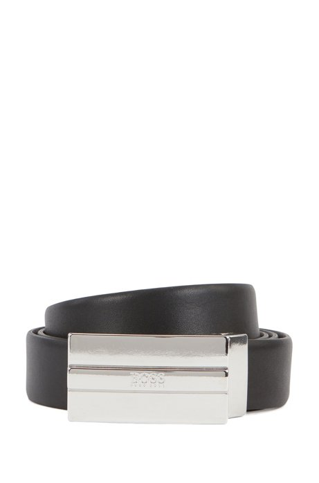 Leather belt with engraved silver-tone buckle, Black