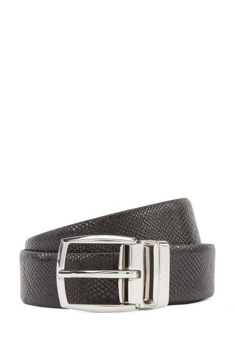Leather belt with silver-tone hardware, Black