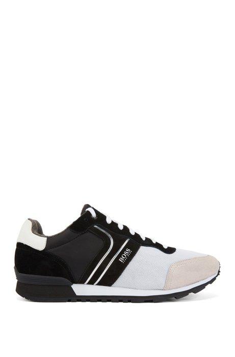 Hybride sneakers in hardloopstijl met voering van bamboe-koolstofmateriaal, Zwart