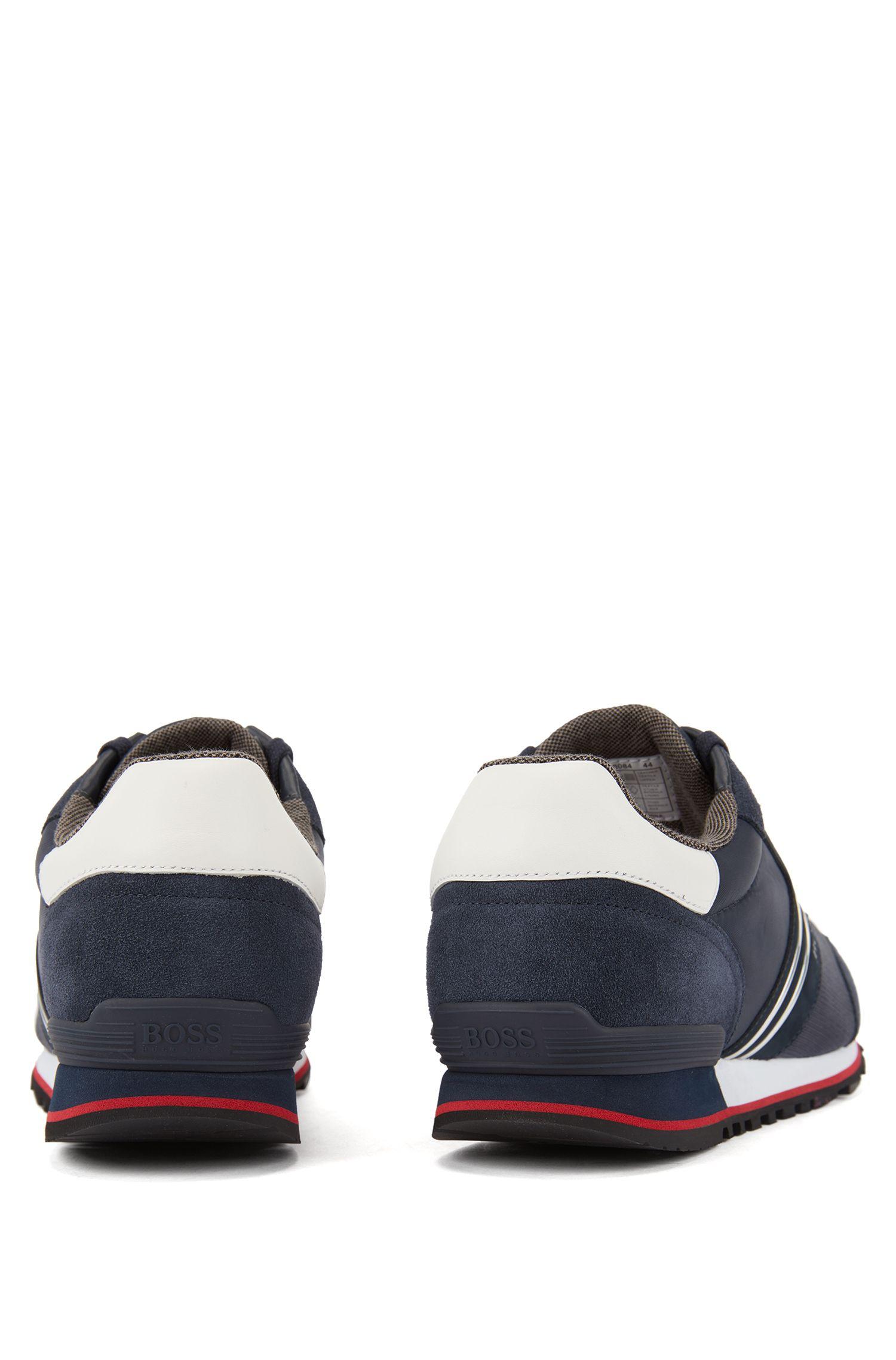 Hybride sneakers in hardloopstijl met voering van bamboe-koolstofmateriaal, Donkerblauw