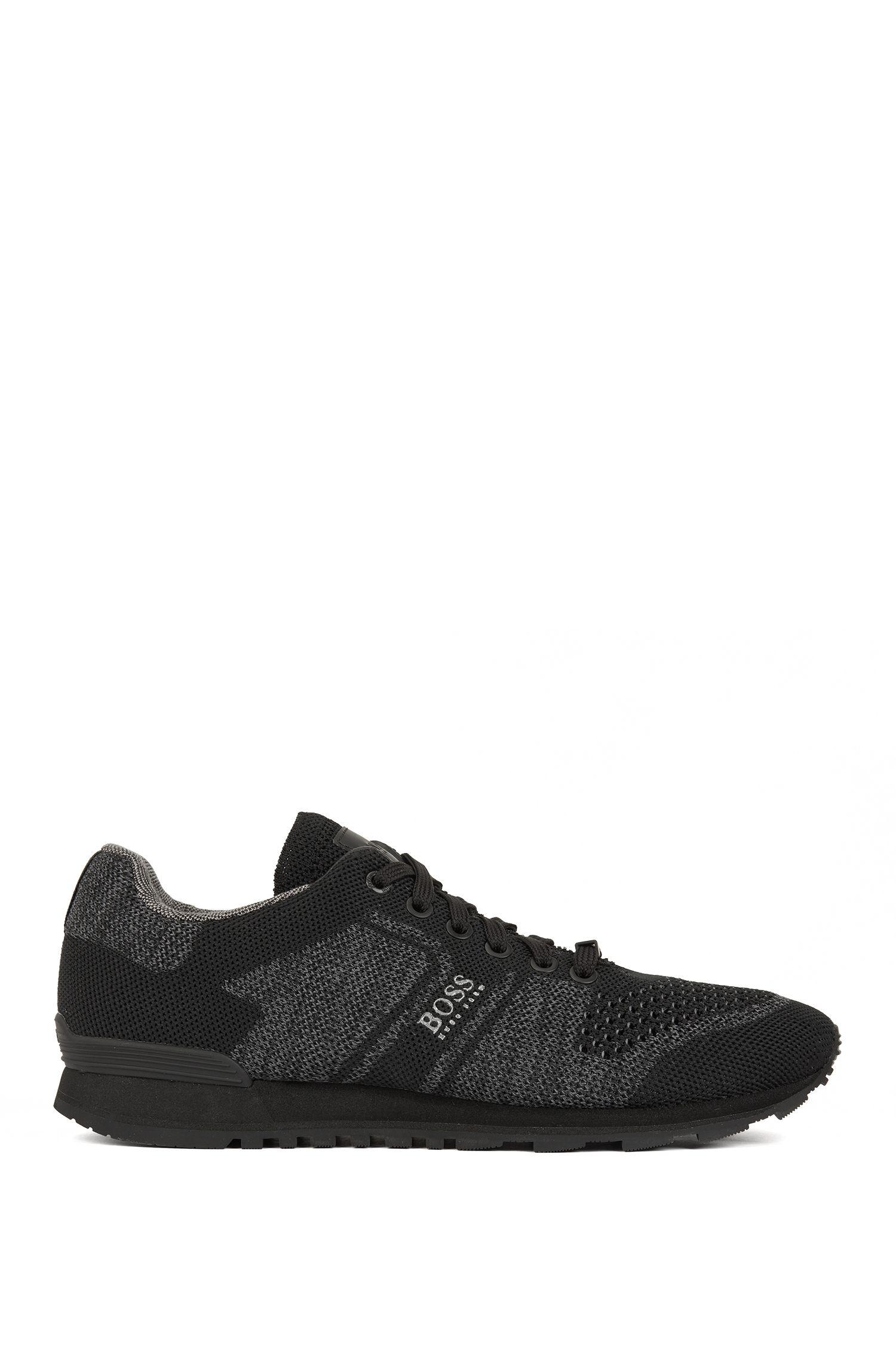 Baskets style chaussures de running avec tige en maille à motifs multiples, Noir