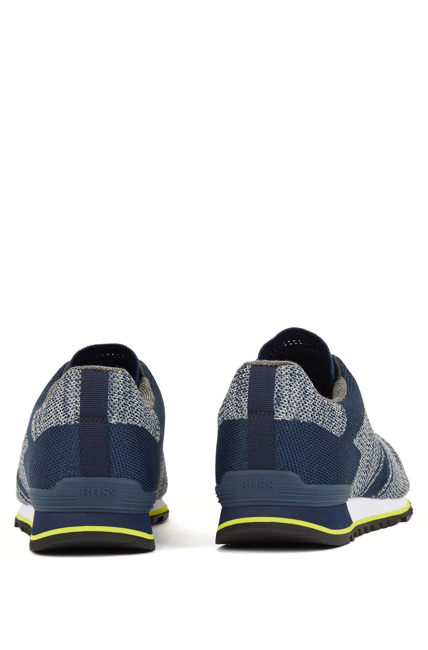 Running-style trainers with multi-patterned knitted upper, Dark Blue