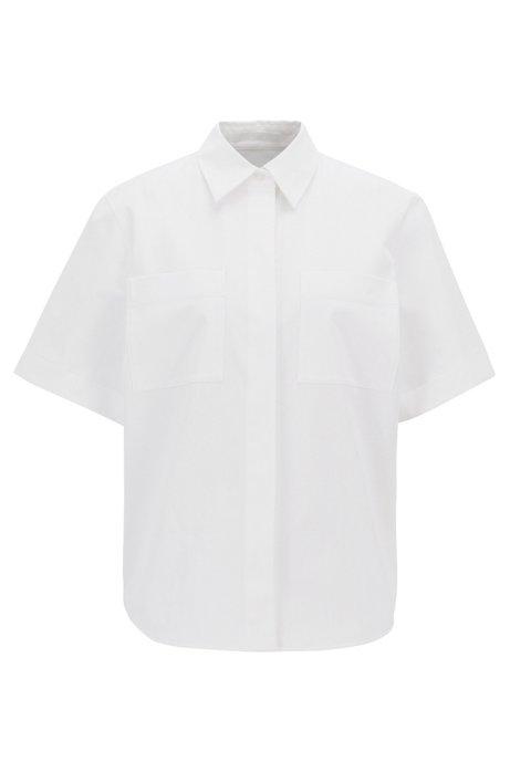 Relaxed-Fit Bluse aus portugiesischem Stretch-Twill, Weiß