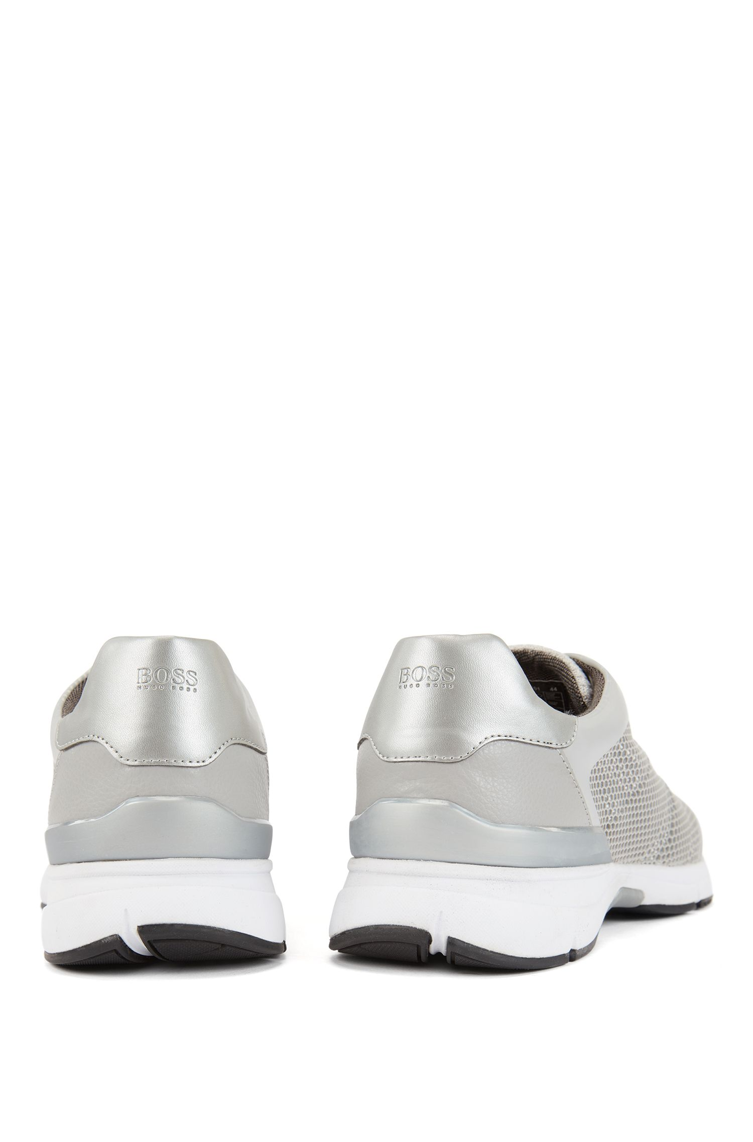 High-performance trainers in open mesh with printed backing, Light Grey