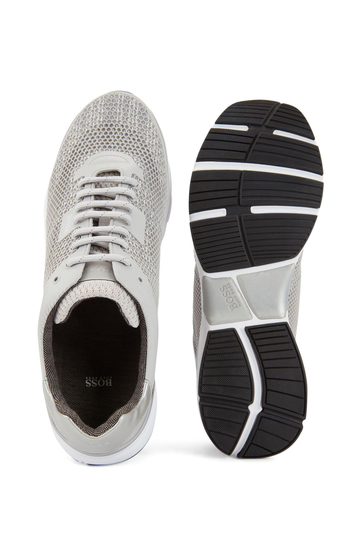 High-performance sneakers van open mesh met bedrukte onderlaag, Lichtgrijs