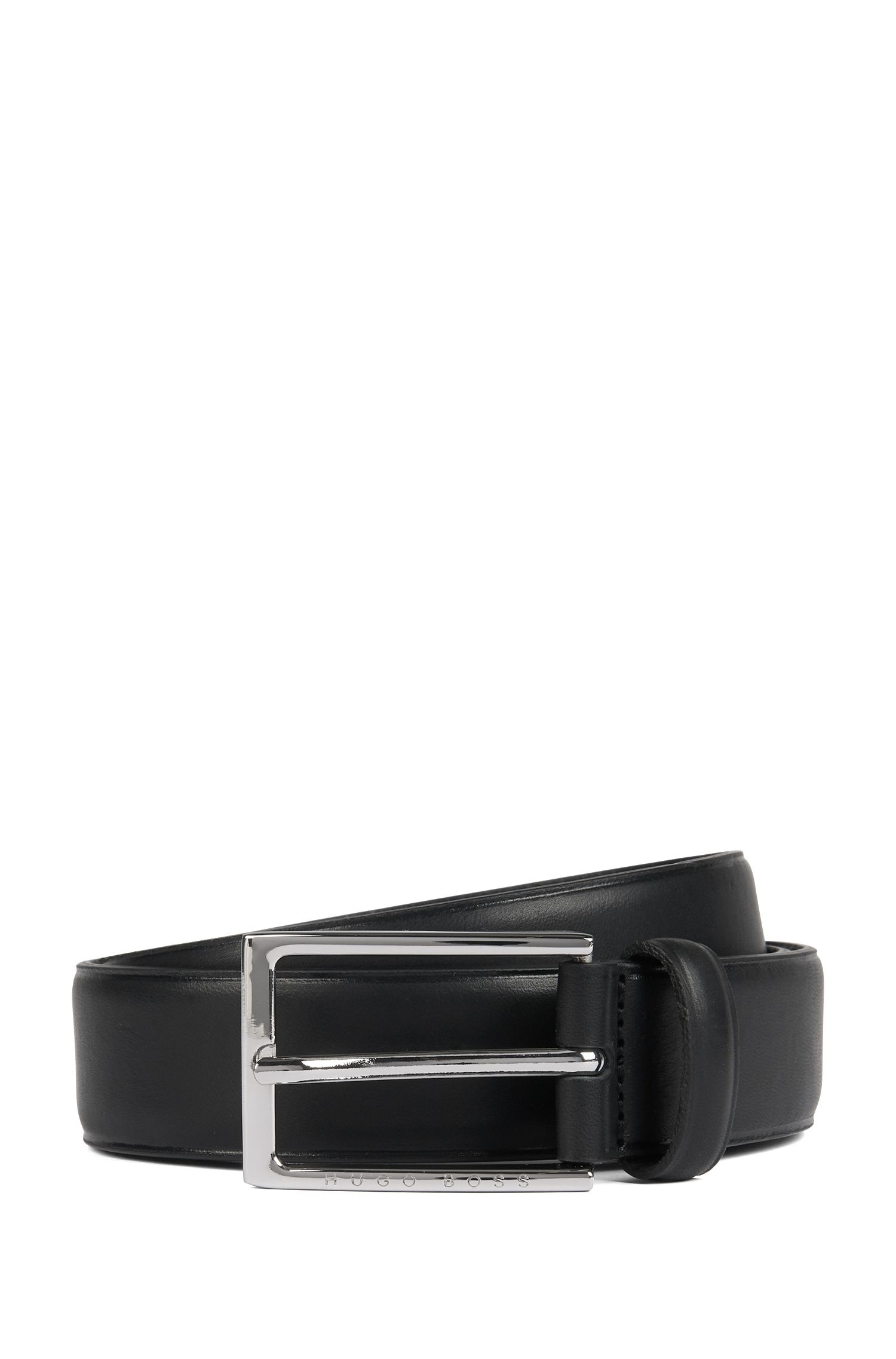 Pin-buckle belt in leather with heat-embossed detailing, Black