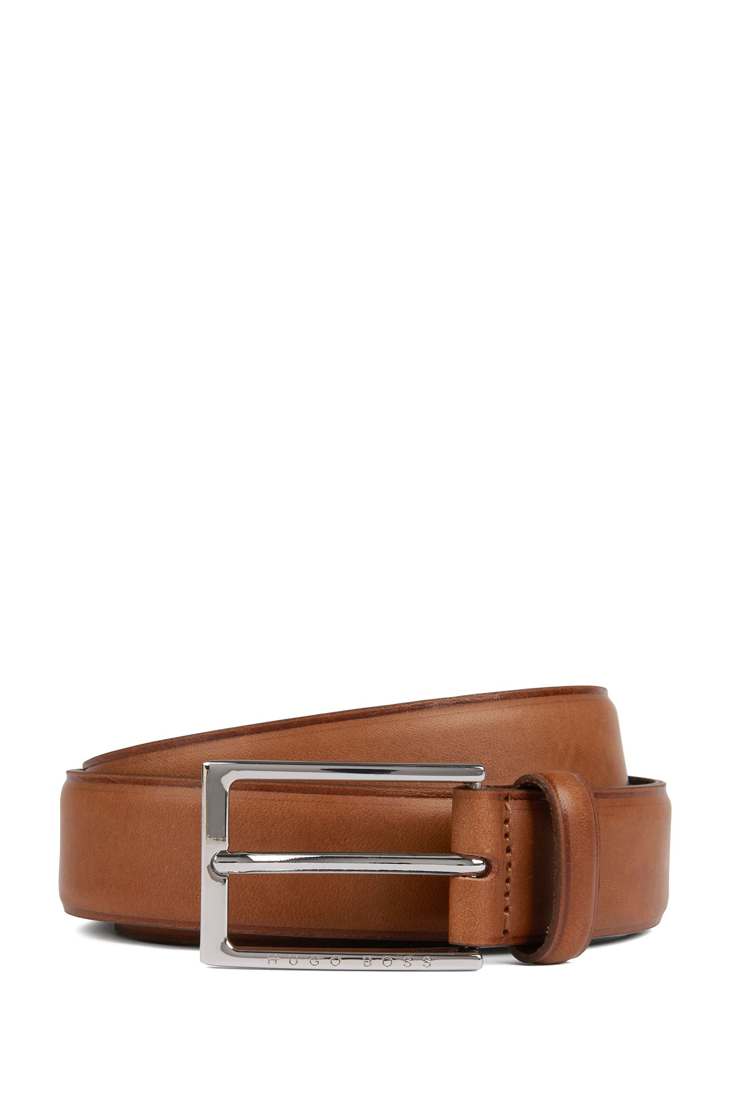 Pin-buckle belt in leather with heat-embossed detailing, Brown