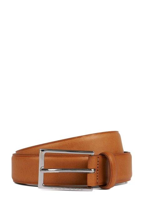 Cinturón con hebilla en piel con detalles termograbados, Marrón