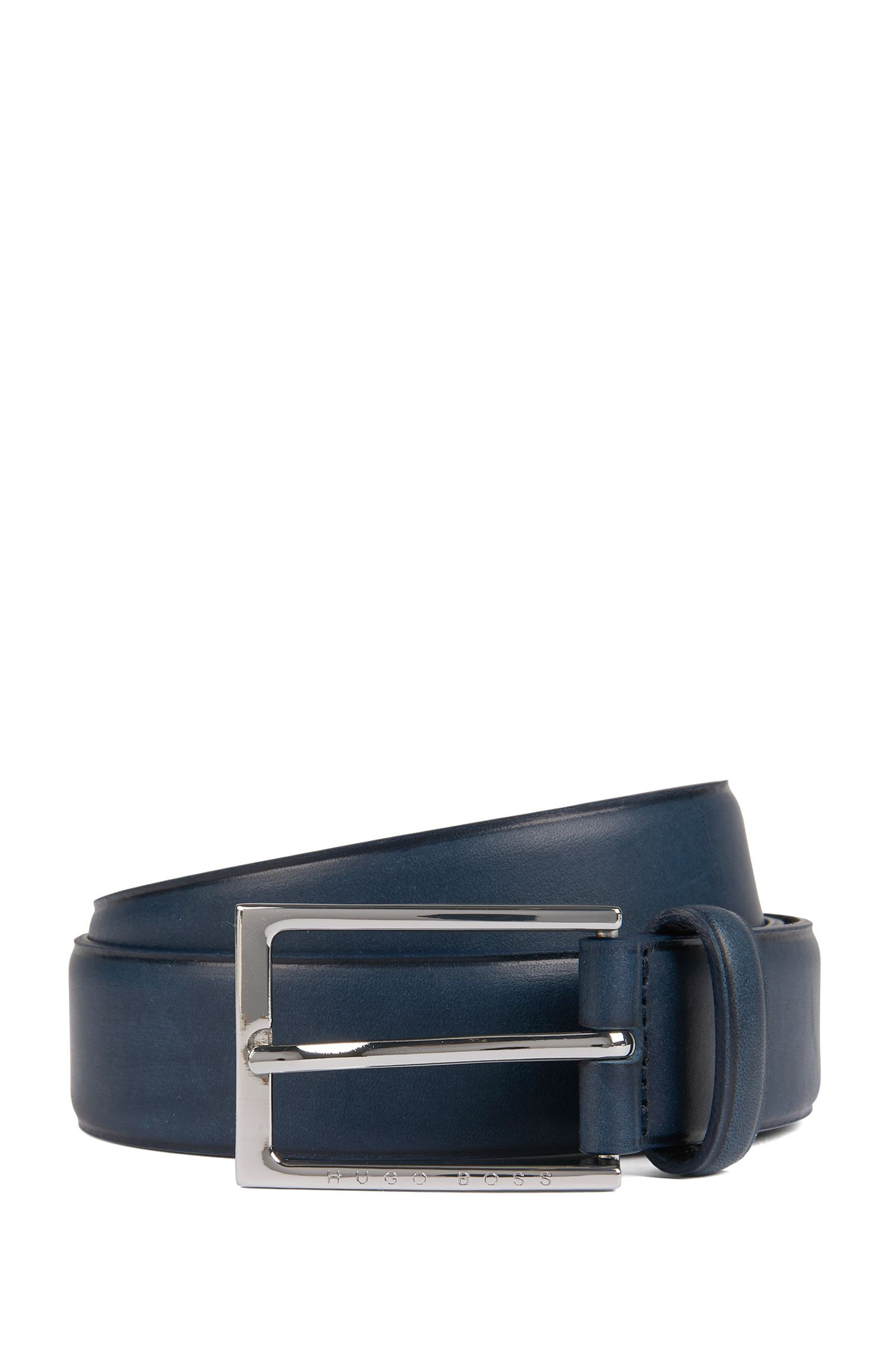Pin-buckle belt in leather with heat-embossed detailing, Dark Blue
