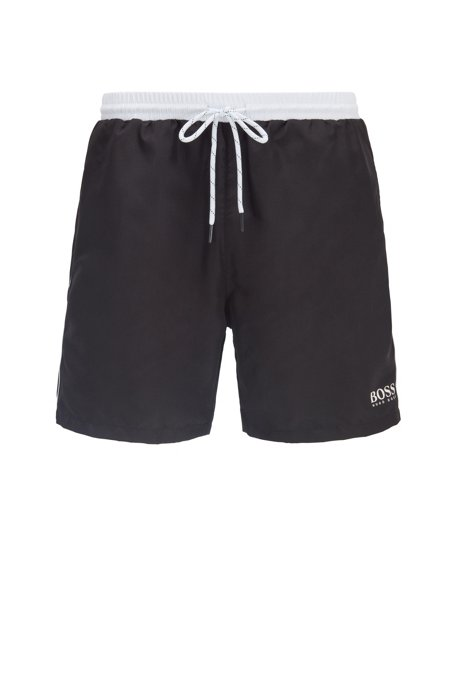 Medium-length swim shorts in quick-drying fabric, Black