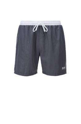 Medium-length swim shorts in quick-drying fabric, Dark Grey