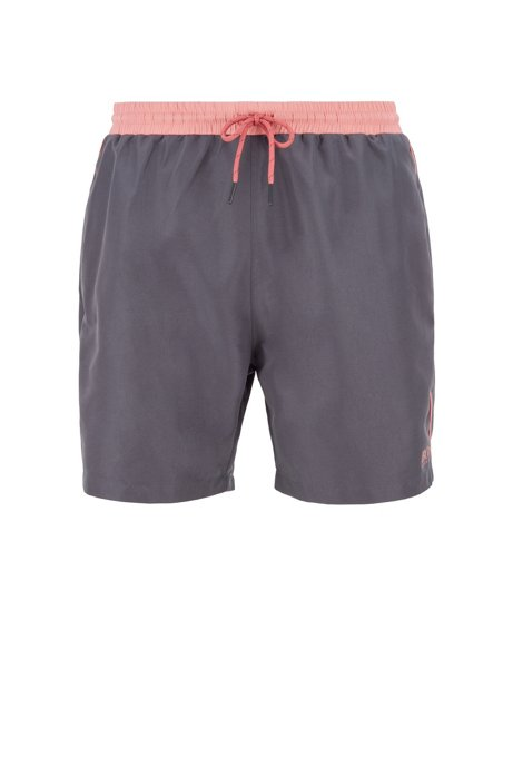 Medium-length swim shorts in quick-drying fabric, Dark Grey
