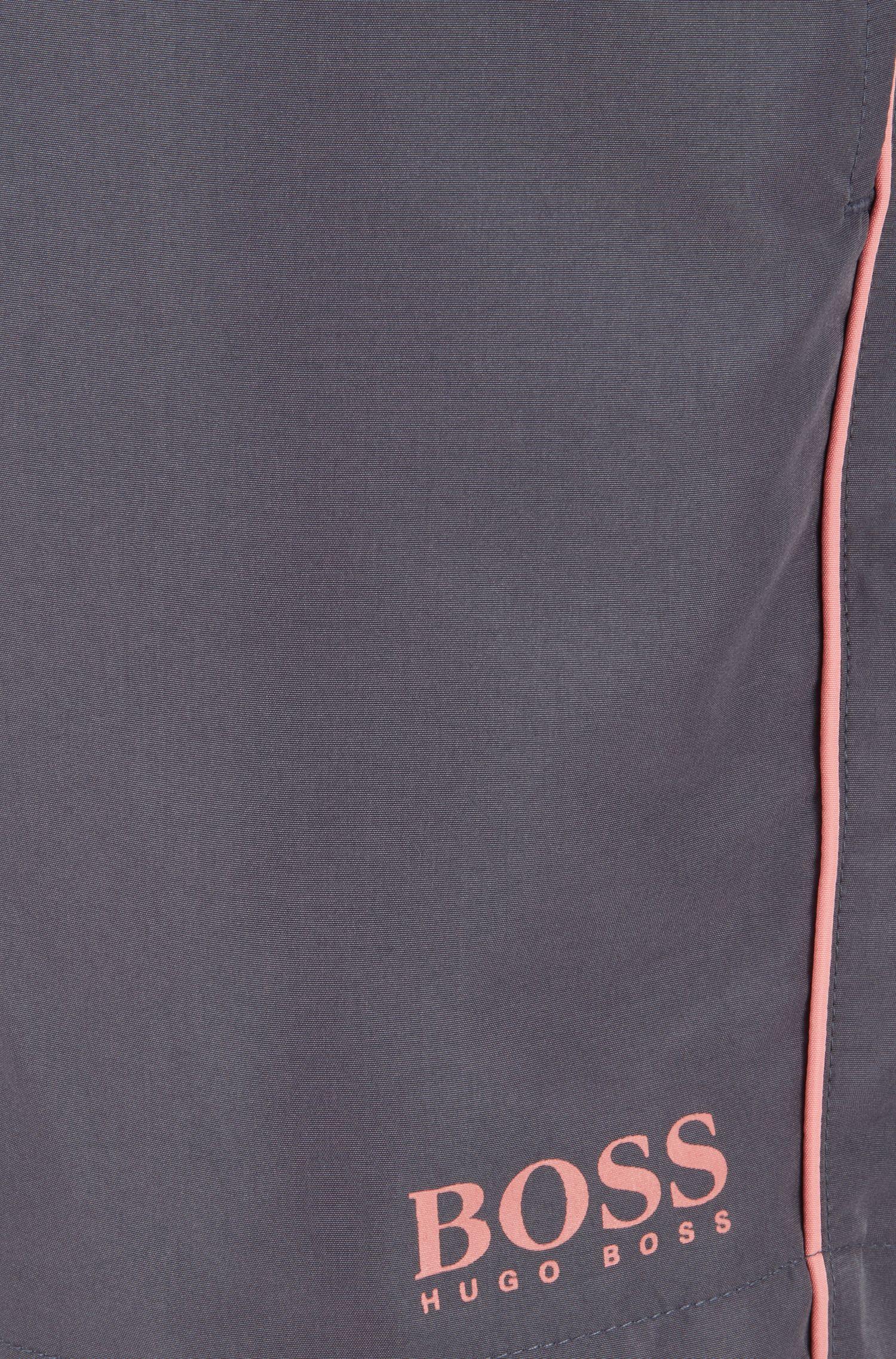 Boxer da bagno di lunghezza media in tessuto ad asciugatura rapida, Grigio scuro