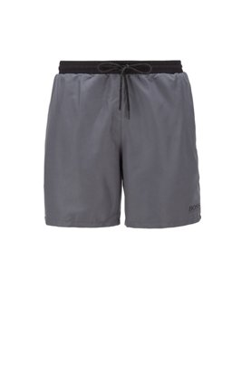 Medium-length swim shorts in quick-drying fabric, Light Grey
