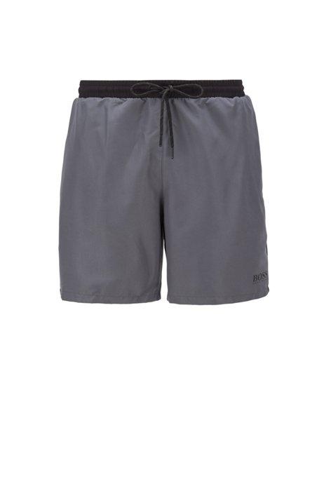 Medium-length swim shorts in quick-drying fabric, Light Grey
