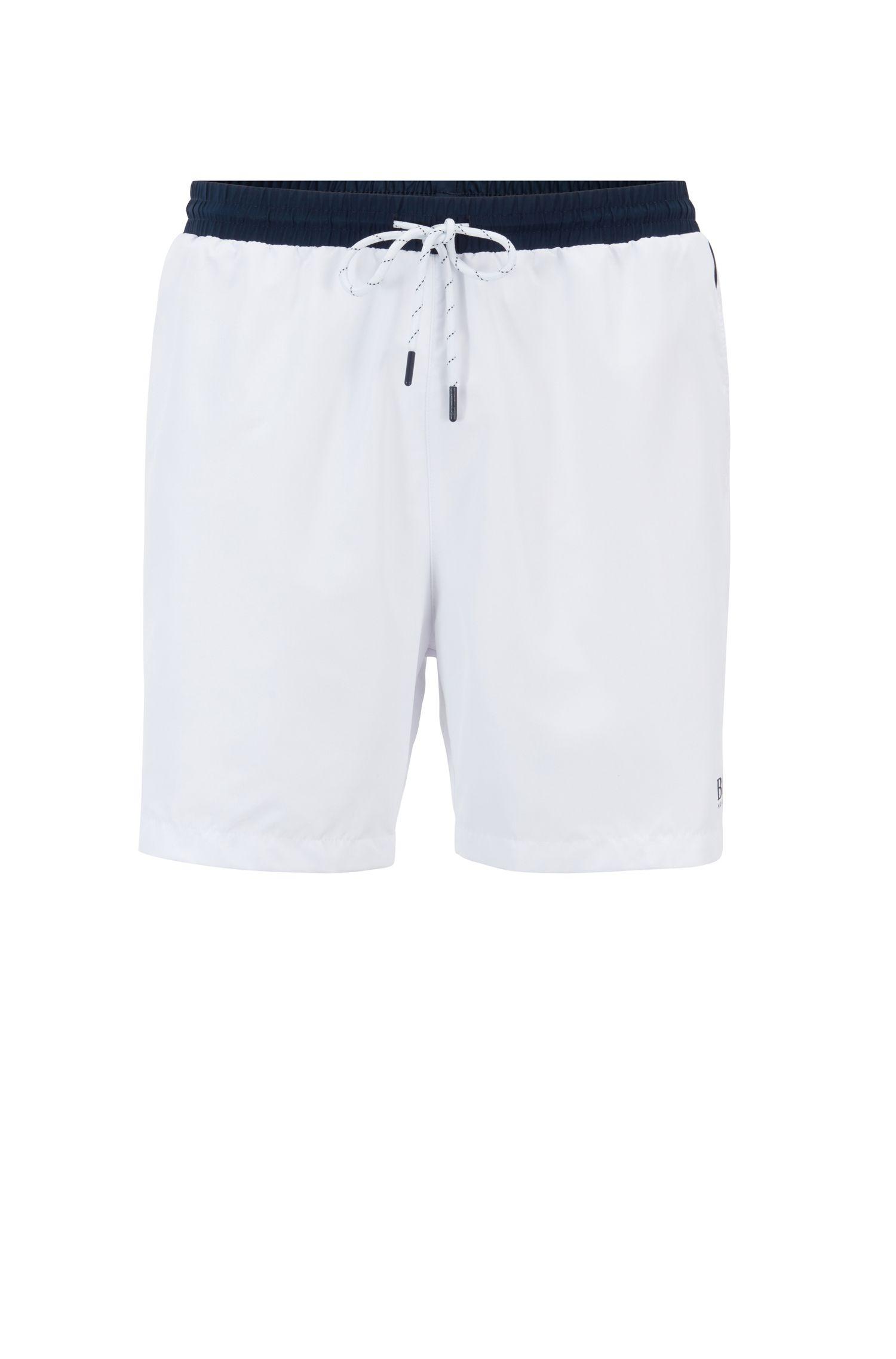 Bañador tipo shorts de largo medio en tejido de secado rápido, Natural