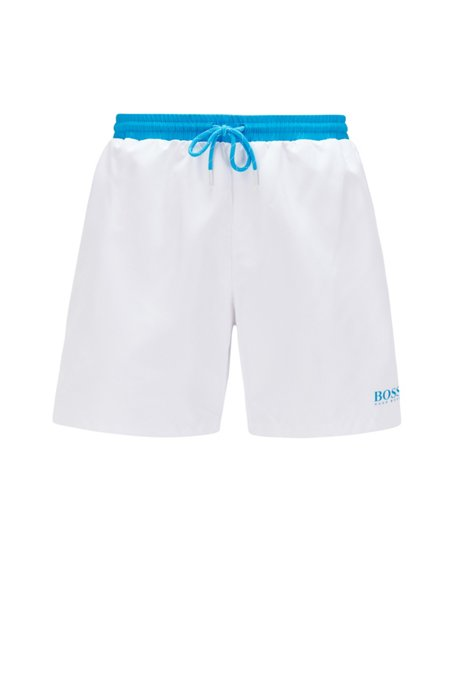 Medium-length swim shorts in quick-drying fabric, White