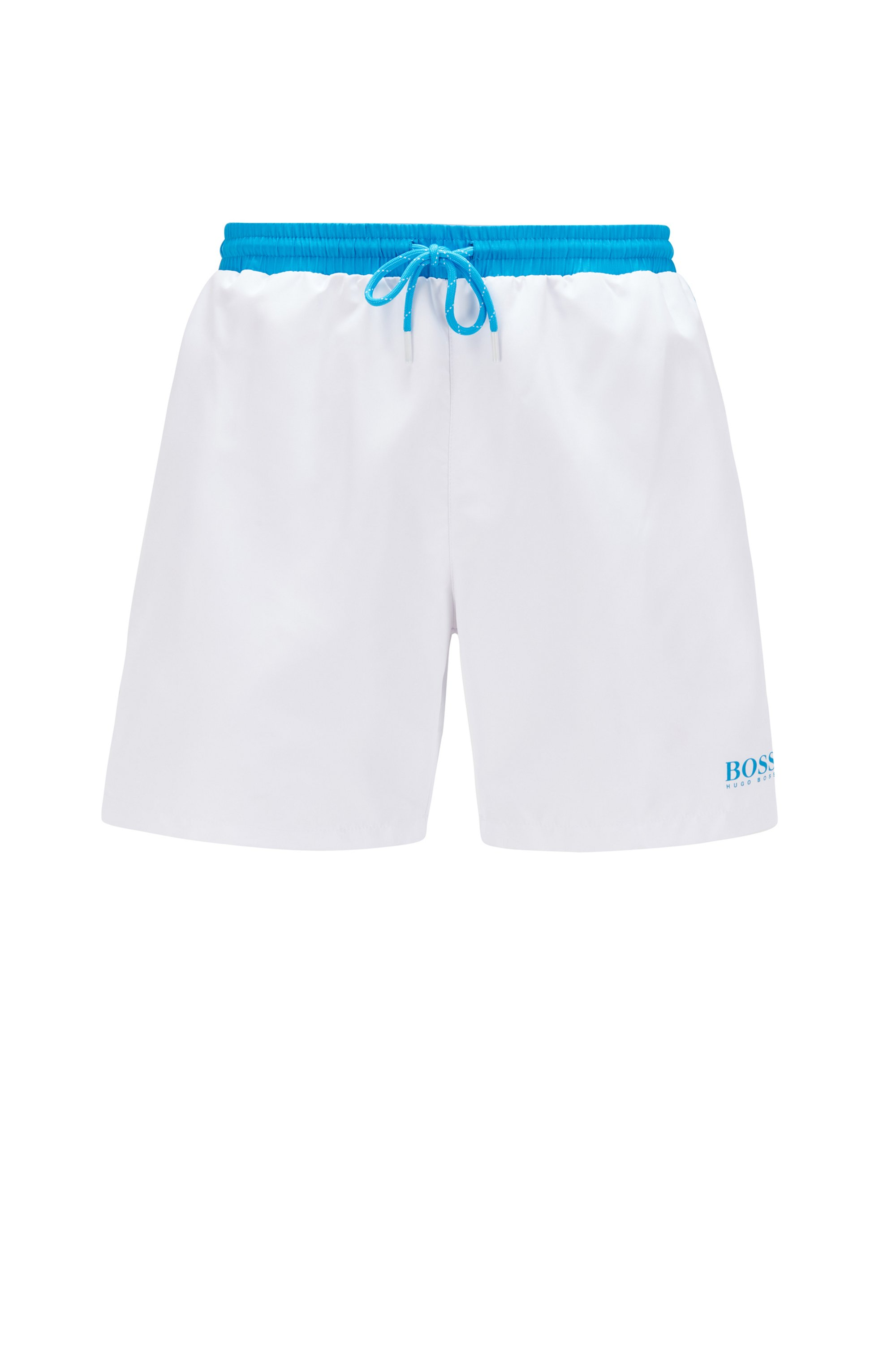 Medium-length swim shorts in quick-drying fabric, White