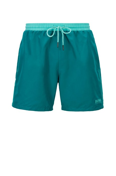 Medium-length swim shorts in quick-drying fabric, Dark Green