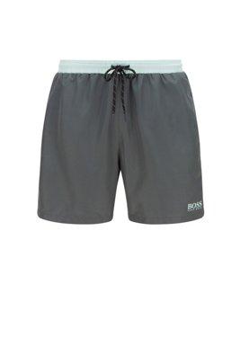 Medium-length swim shorts in quick-drying fabric, Dark Green