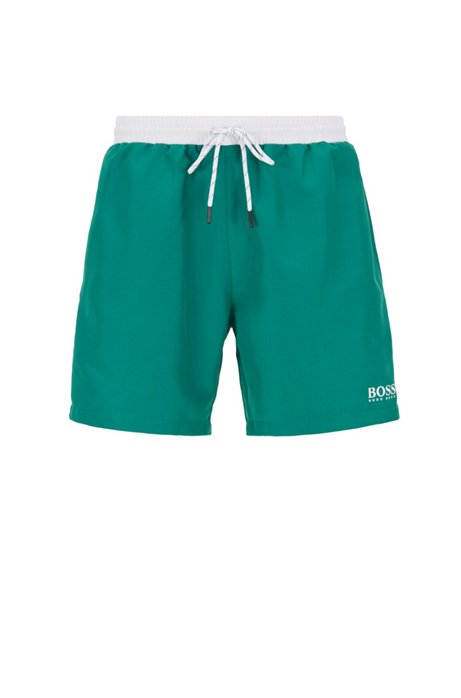 Boxer da bagno di lunghezza media in tessuto ad asciugatura rapida, Verde