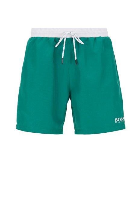 Medium-length swim shorts in quick-drying fabric, Green