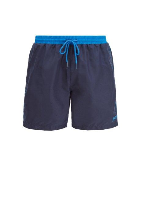 Medium-length swim shorts in quick-drying fabric, Dark Blue