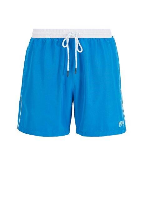 Medium-length swim shorts in quick-drying fabric, Blue
